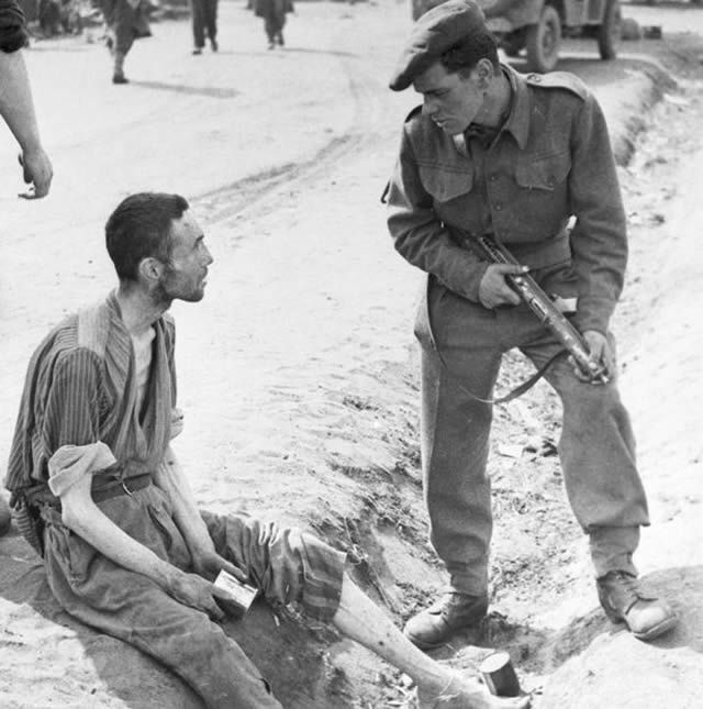 An inmate thought to be Harold when camp was liberated by British troops