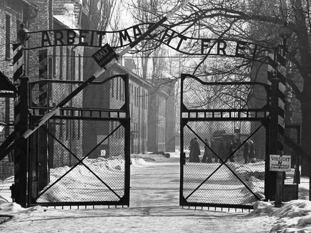 The gates, circa 1965, of the Nazi concentration camp at Auschwitz in occupied Poland