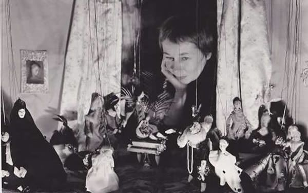 Virginia Campbell with her marionettes
