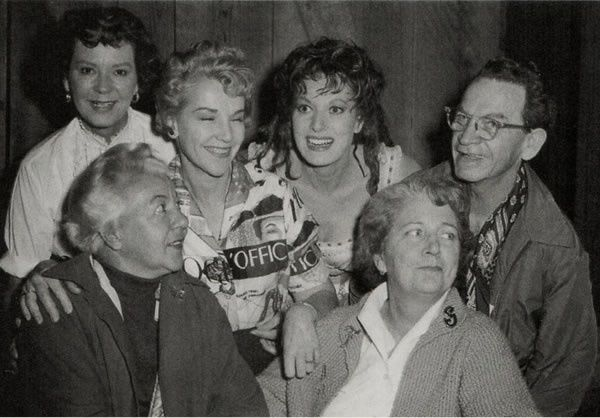 On the set of McLintock! - L. to R. : Lucille House (stuntwoman), Rosemary Odell (costume designer, visitor), Maureen O'Hara, Jimmy Barker (?) (top), Adele Palmer (costume designer, visitor) & Fay Smith (hair stylist, visitor)