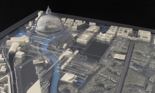 Edgar Guzmanruiz's sculpture superimposes a transparent mold of Germania over Berlin