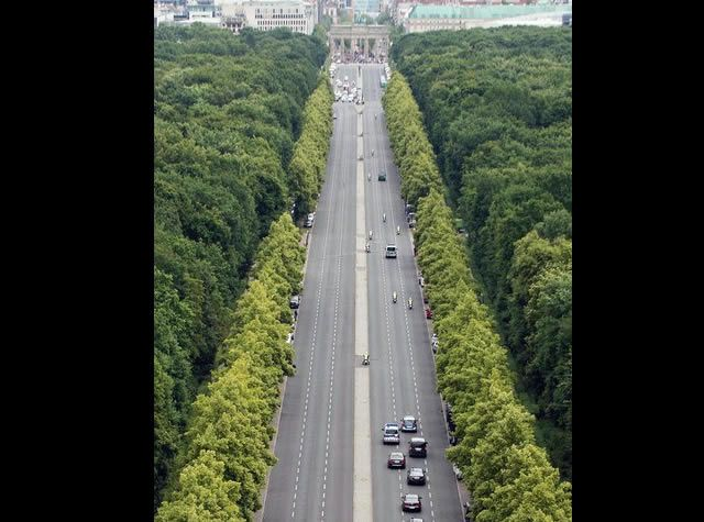 The Strasse des 17. Juni, leading up to the Brandenburg Gate, is one of the few relics of Germania