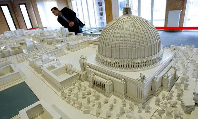 A scale model of Albert Speer's proposed 180,000-seat Great Hall
