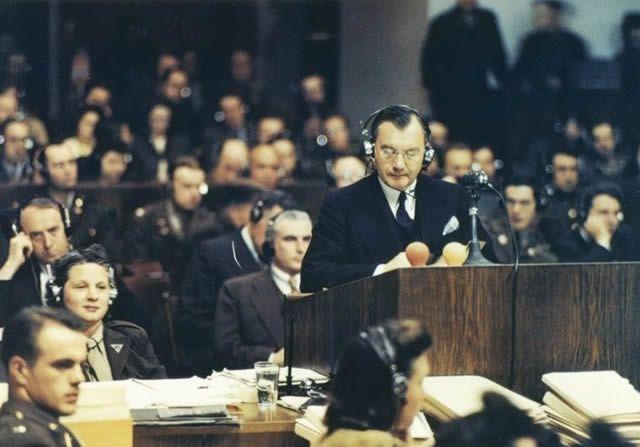 Chief American prosecutor Robert H. Jackson addresses the Nuremberg court on November 20, 1945