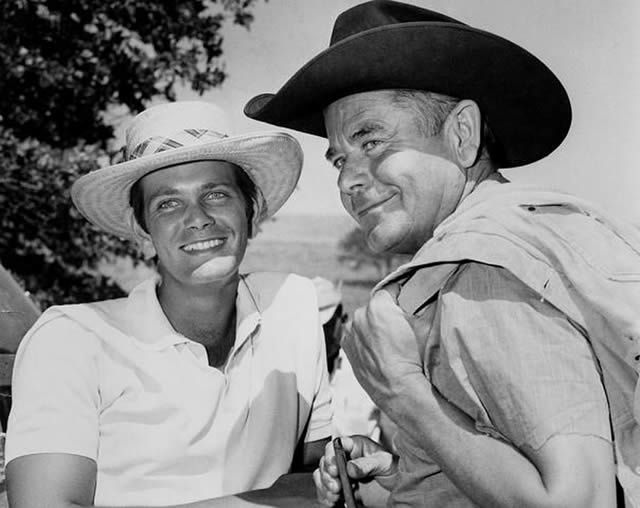 "Glenn Ford, right, and son Peter on the set of ""Heaven with a Gun"" at Old Tucson, Arizona, in 1968. Ford Sr. would have been 100 today"