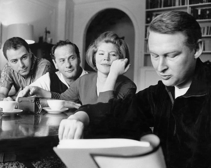 """Alan Arkin, Eli Wallach and Anne Jackson, with the director Mike Nichols, preparing for the opening of """"Luv"""" in 1964"""