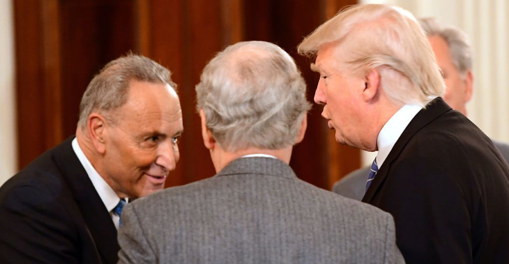 President Donald Trump welcomes Senate Minority Leader Chuck Schumer, D-N.Y., and Senate Majority Leader Mitch McConnell, R-Ky., to the White House