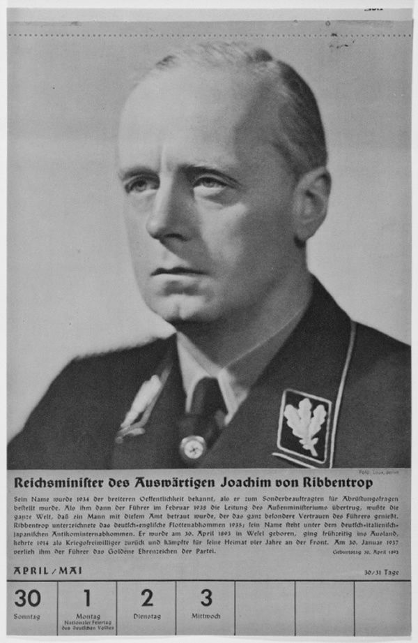 Portrait of Reichsminister Joachim von Ribbentrop