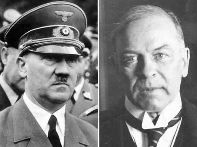Canadian Prime Minister Mackenzie King and Nazi leader Adolf Hitler, both pictured prior to the Second World War.