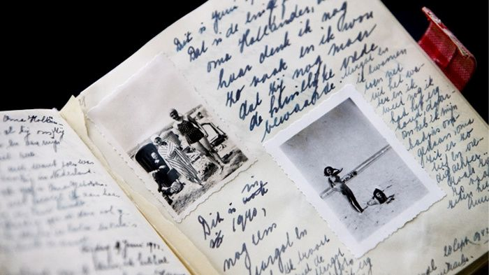 Copies of Anne Frank's diaries are on display at the Anne Frank museum in Amsterdam, Netherlands