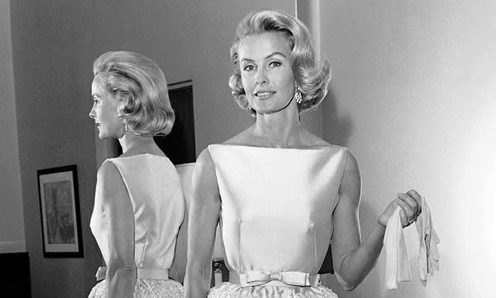 Dina Merrill modelling the dress she wore to the 1962 Academy Awards. Photograph: Harold P Matosian/AP
