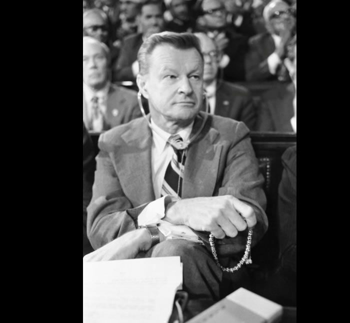 Mr. Brzezinski fingered worry beads as he watched Mr. Carter and Anwar el-Sadat, president of Egypt, address Parliament in Cairo in 1979. Credit Associated Press