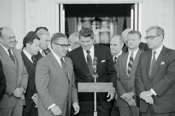 Mr. Brzezinski, second from right, joined top-ranking officials from past administrations at the White House in 1981 to endorse President Ronald Reagan's bid to sell Awacs radar planes to Saudi Arabia. Credit Bettmann
