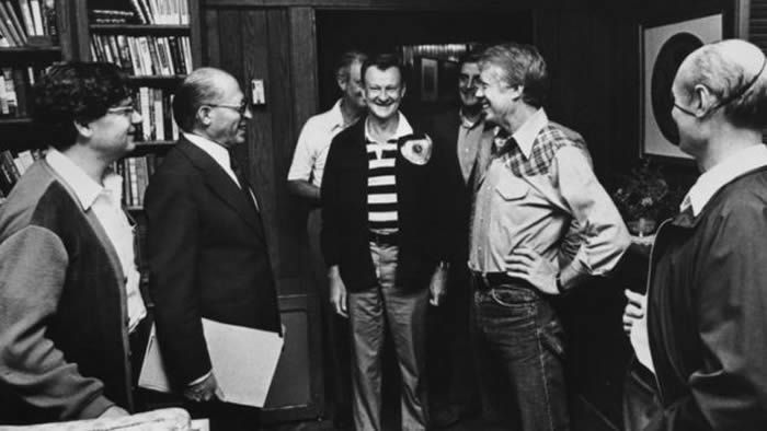 Mr Brzezinski (middle, with Jimmy Carter, second right) during the 1978 summit which resulted in the Camp David Accords