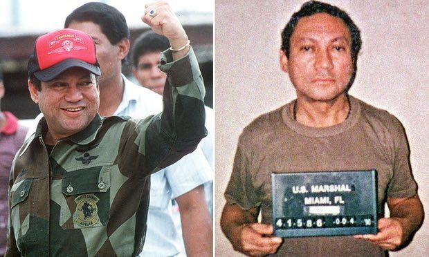 A defiant Noriega in Panama in October 1989, and in captivity in Miami in January 1990. Photograph: DSK/AFP/Getty Images