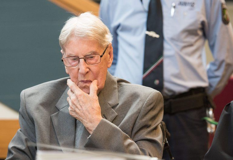Reinhold Hanning in court in Detmold, Germany, in June 2016, where he was sentenced to five years in jail for being an accessory to the murder of 170,000 people. Credit Bernd Thissen/European Pressphoto Agency