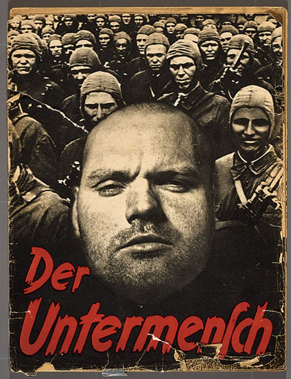 La couverture du photo-montage de 'Der Untermensch' ('Le sous humain'), une brochure SS de 52 pages où il y a des images prises par Associated Press (Crédit : Deutsches Historisches Museum, Berlin)