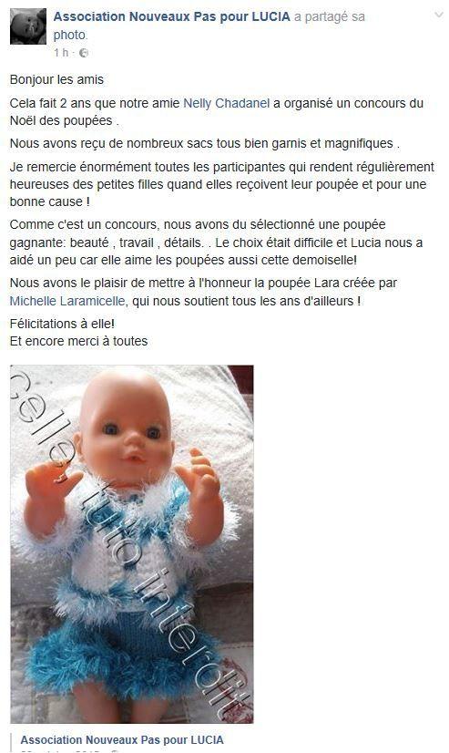 N°321 Le sac de la poupée Lara : LA GRANDE GAGNANTE !