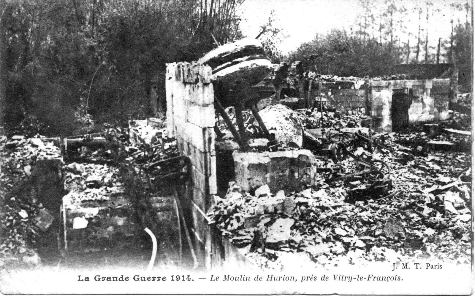 GUERRE 1914 1918.MOULIN DE HURION.