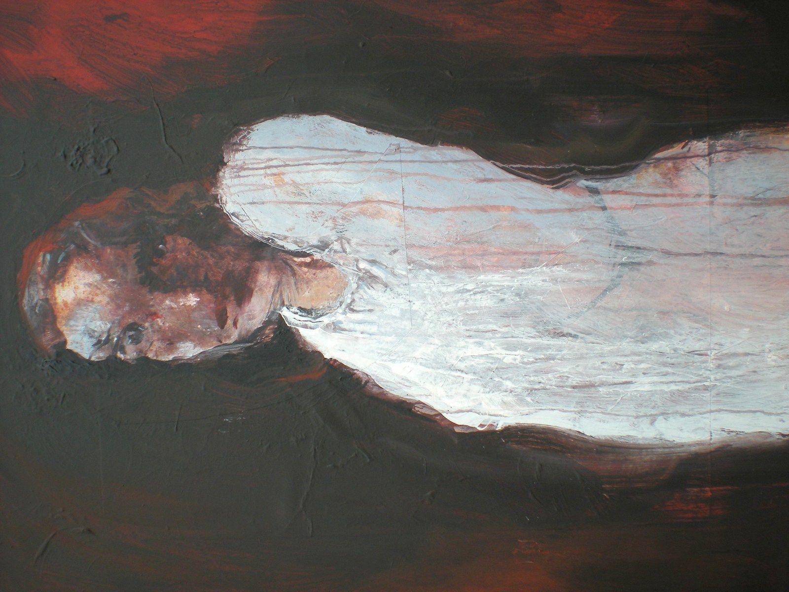 La monomaniaque: 100 x 80. Acry sur toile et marouflages. 2008. Collection privée. Hommage rendu aux regards. Peinture faite en hommage aux portraits peints par Géricault. L'artiste  a réalisé une série de  portraits à la Pitié –Salpétrière.  Peintures tragiques de ces « fous « qu'on nommait à l'époque « monomaniaques ».