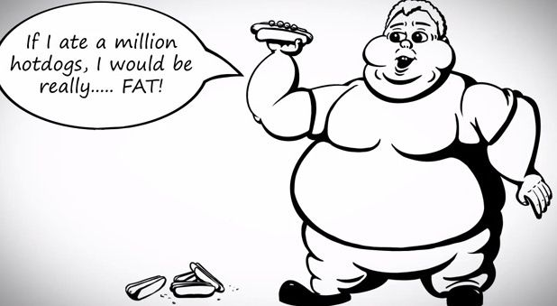 If I ate a million hotdogs, I would be really...fat ! (2nd conditional)