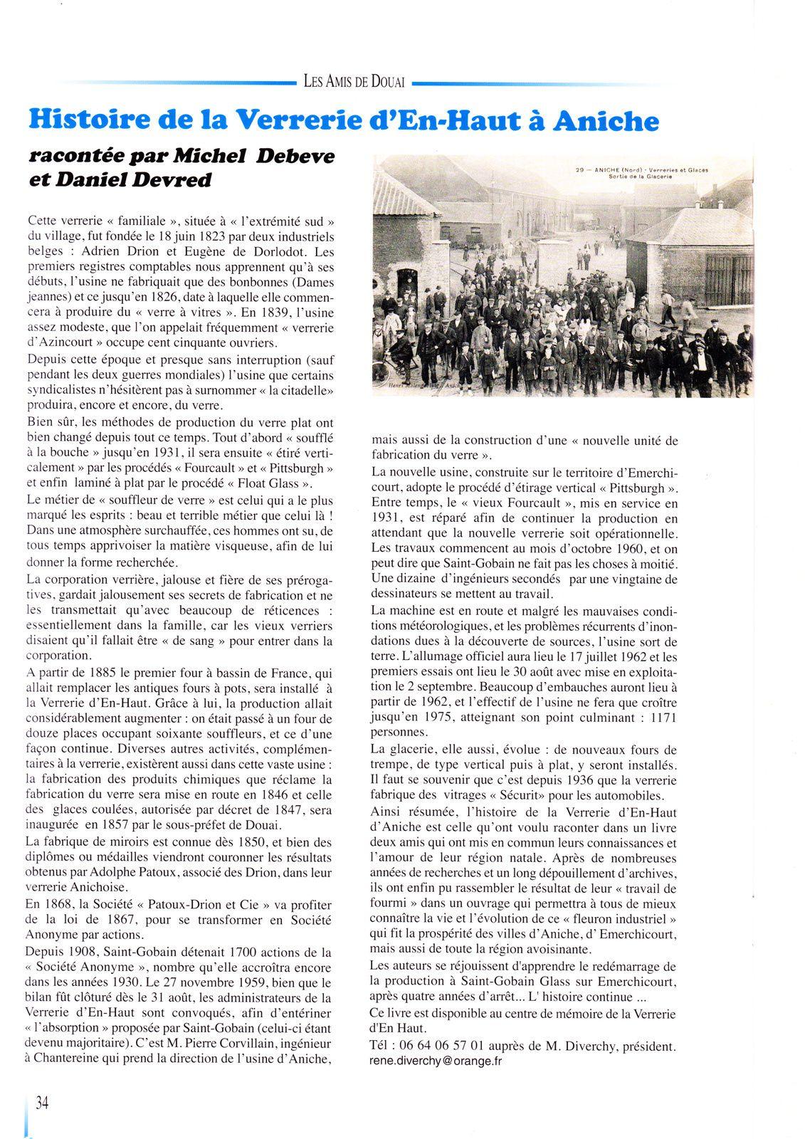 Livre : Histoire de la Verrerie d'en Haut.. Nous avons reçu  les 100 exemplaires supplémentaires