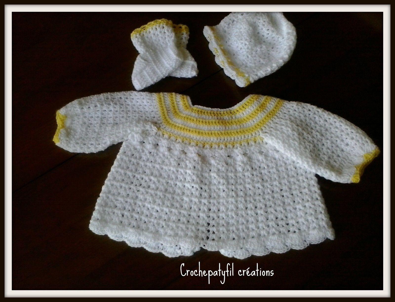 ensemble brassière bébé 0 3 mois au crochet