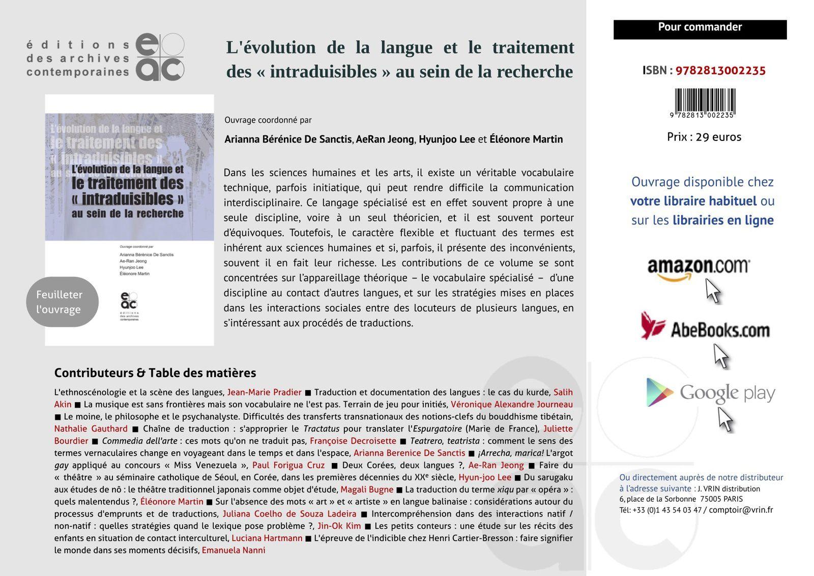L'évolution de la langue et le traitement des « intraduisibles » au sein de la recherche