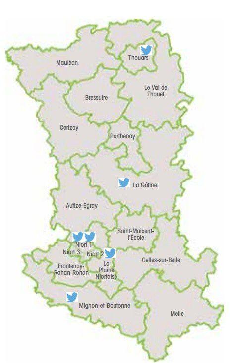 Carte des conseillers départementaux présents sur Twitter par canton