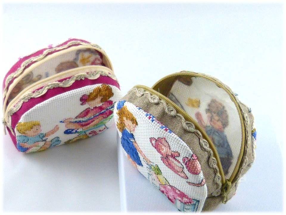 Bracelet, pochette &amp&#x3B; porte monnaie au crochet de Lunéville.