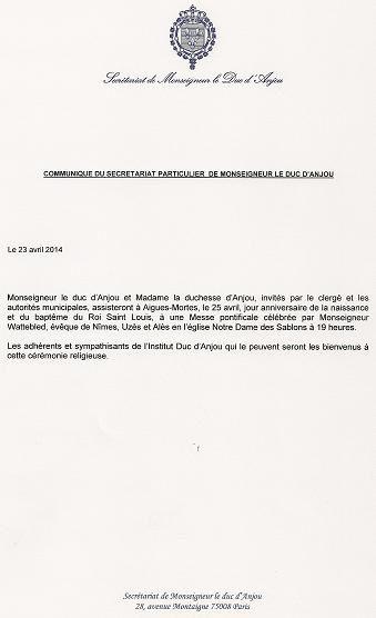 Communiqué du secrétariat particulier de monseigneur le duc d'Anjou