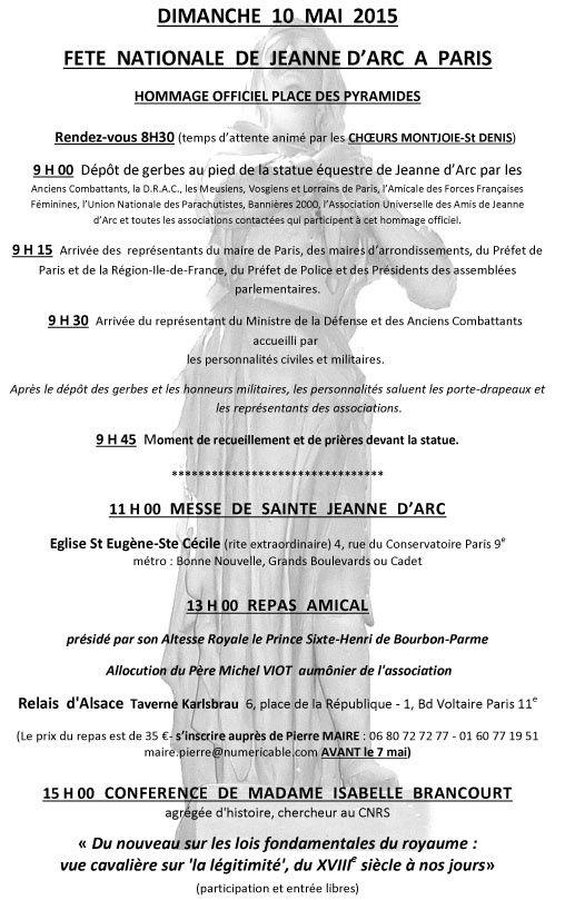Après le premier hommage par l'Association Jeanne d'Arc, ce seront les représentants du Gouvernement, de la Préfecture régionale d'Ile de France et de Paris, du préfet de police de Paris, de l'Assemblée nationale du Sénat, puis du ministre de la défense et des anciens combattants  qui présenteront leurs hommages et honneurs militaires à Jeanne.