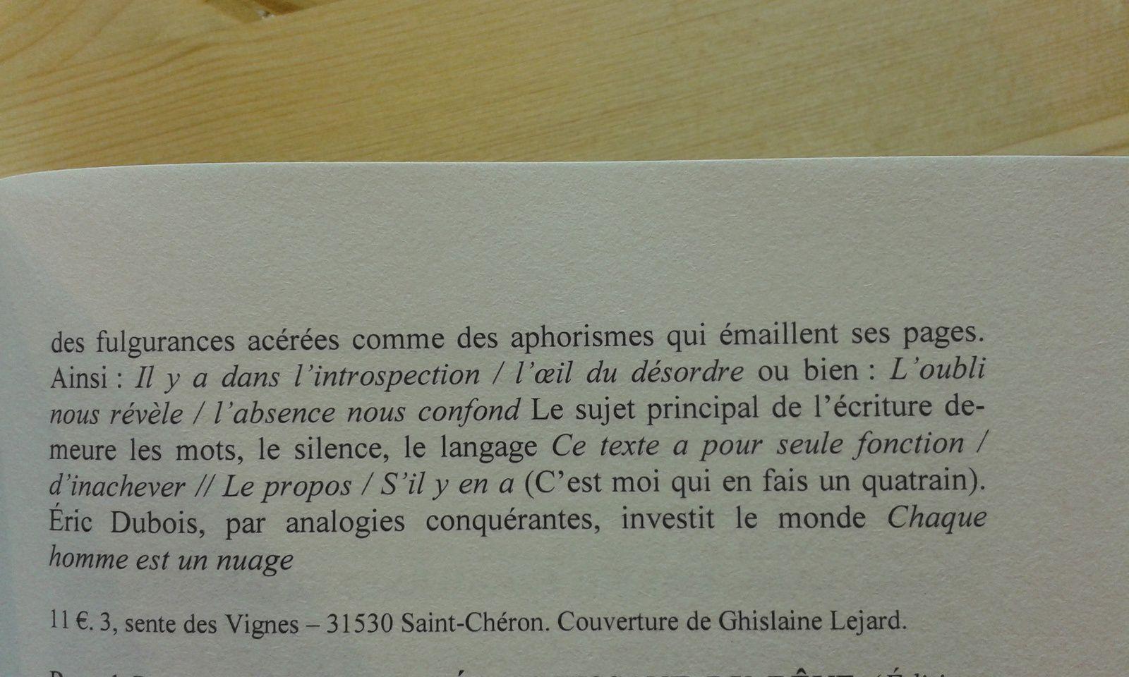 """""""Éric Dubois : Chaque pas est une séquence  ( Éditions Unicité )"""" un article de Jacmo ( Jacques Morin) dans  la rubrique Dia,  revue Décharge n°170 Juin 2016 - 2/2  -DR"""