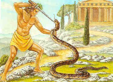 Apollon et le serpent de Delphes