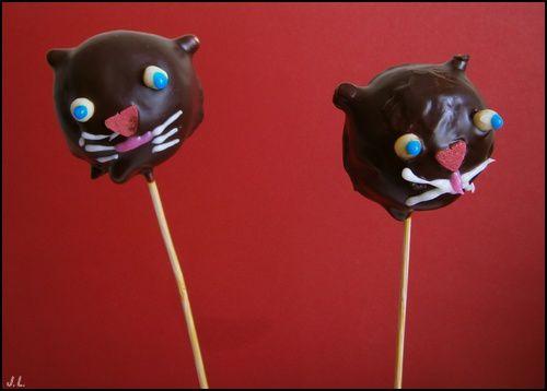 Cake pop chat noir