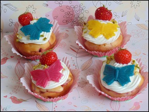 Cupcakes aux fraises et chocolat blanc