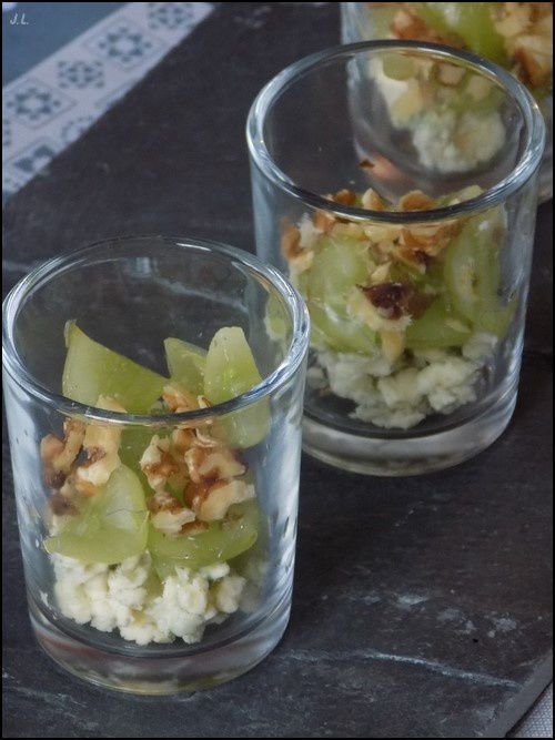 Verrine gorgonzola raisins