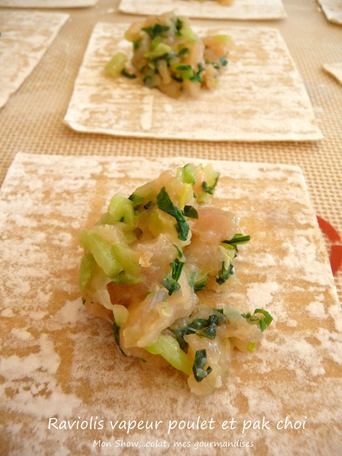 Raviolis vapeur au poulet, gingembre et pak choi.
