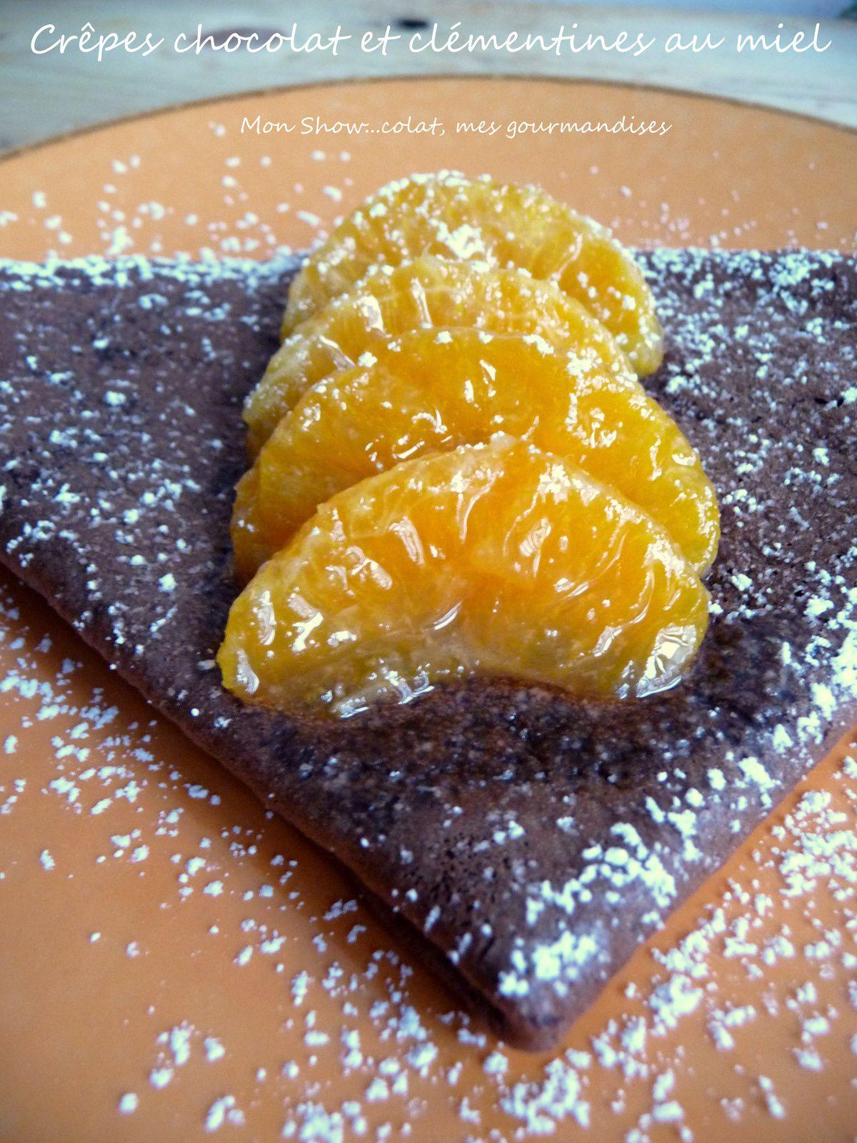 Crêpes au chocolat et clémentines au miel