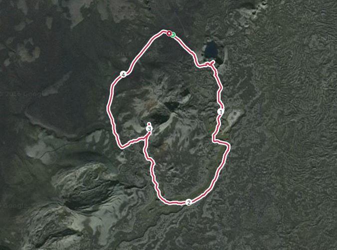 Trace GPS. 1h12 et 4,6 km.