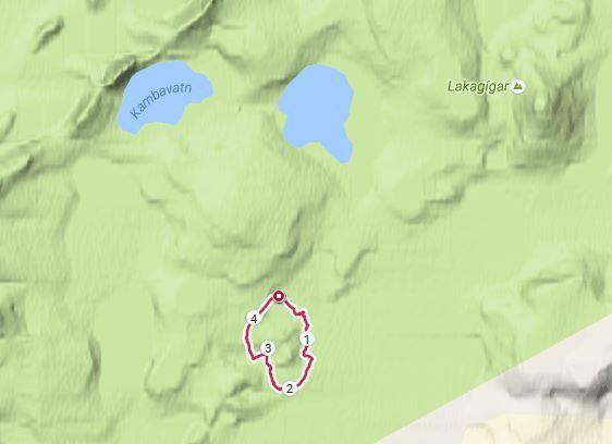 Trace GPS au lac Tjarnargigur