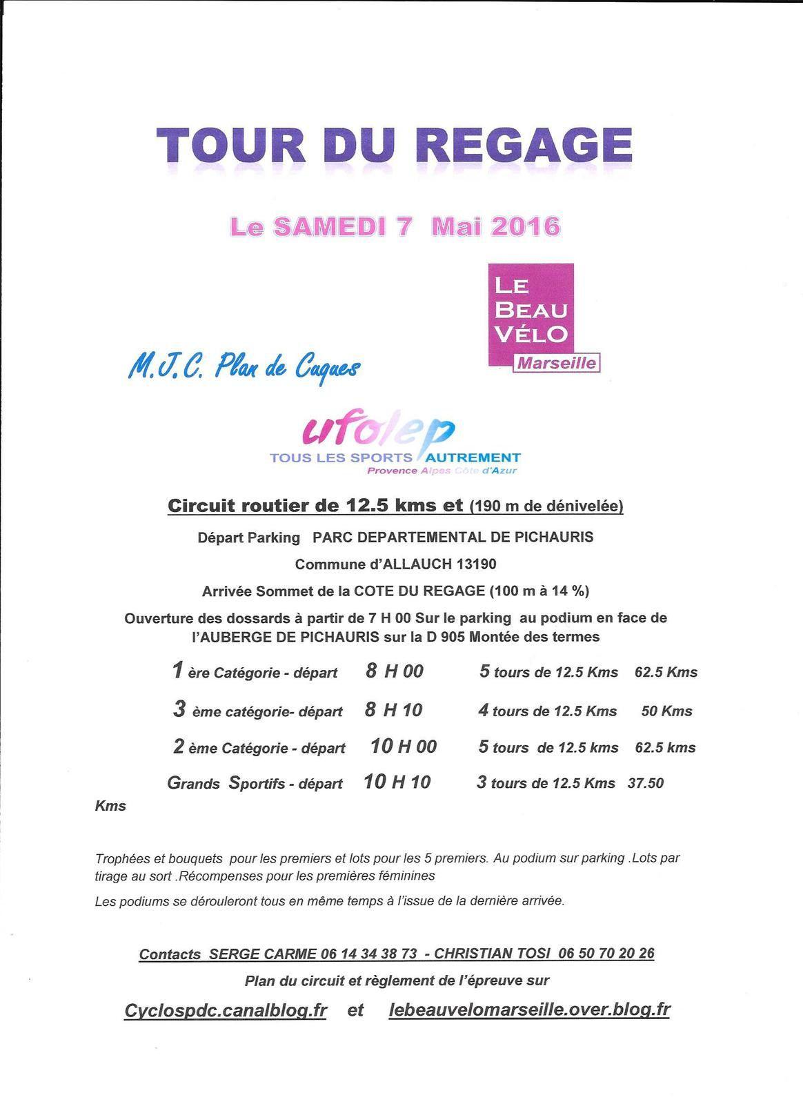 TOUR DU REGAGE  SAMEDI 17 MAI 2016