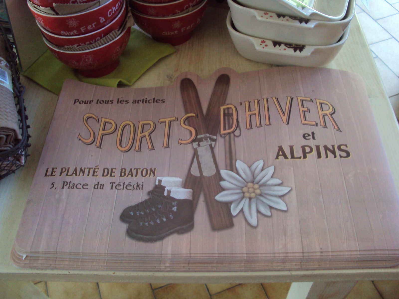 set de table  sport d'hiver  : 3€