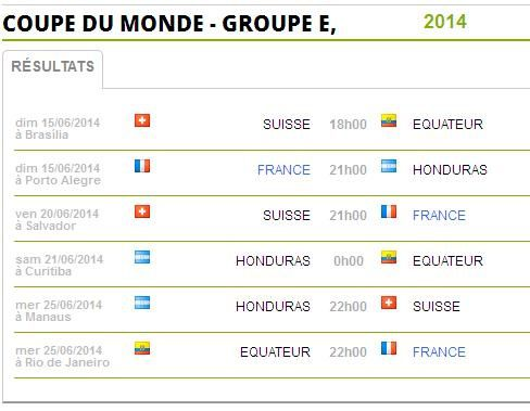 Programme des réjouissances concernant les équipes du Groupe E de la Coupe du monde 2014 au Brésil, dont celle de la France