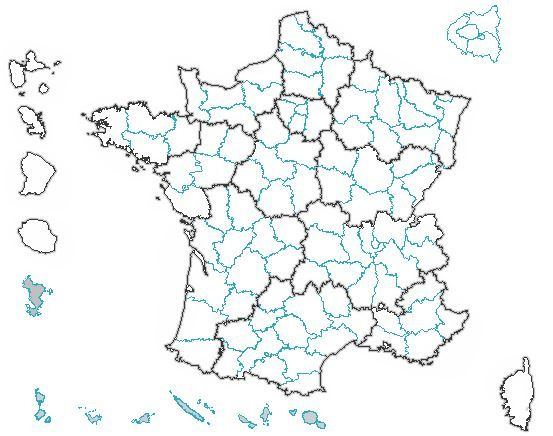 Carte de France pour les Elections Régionales 2015