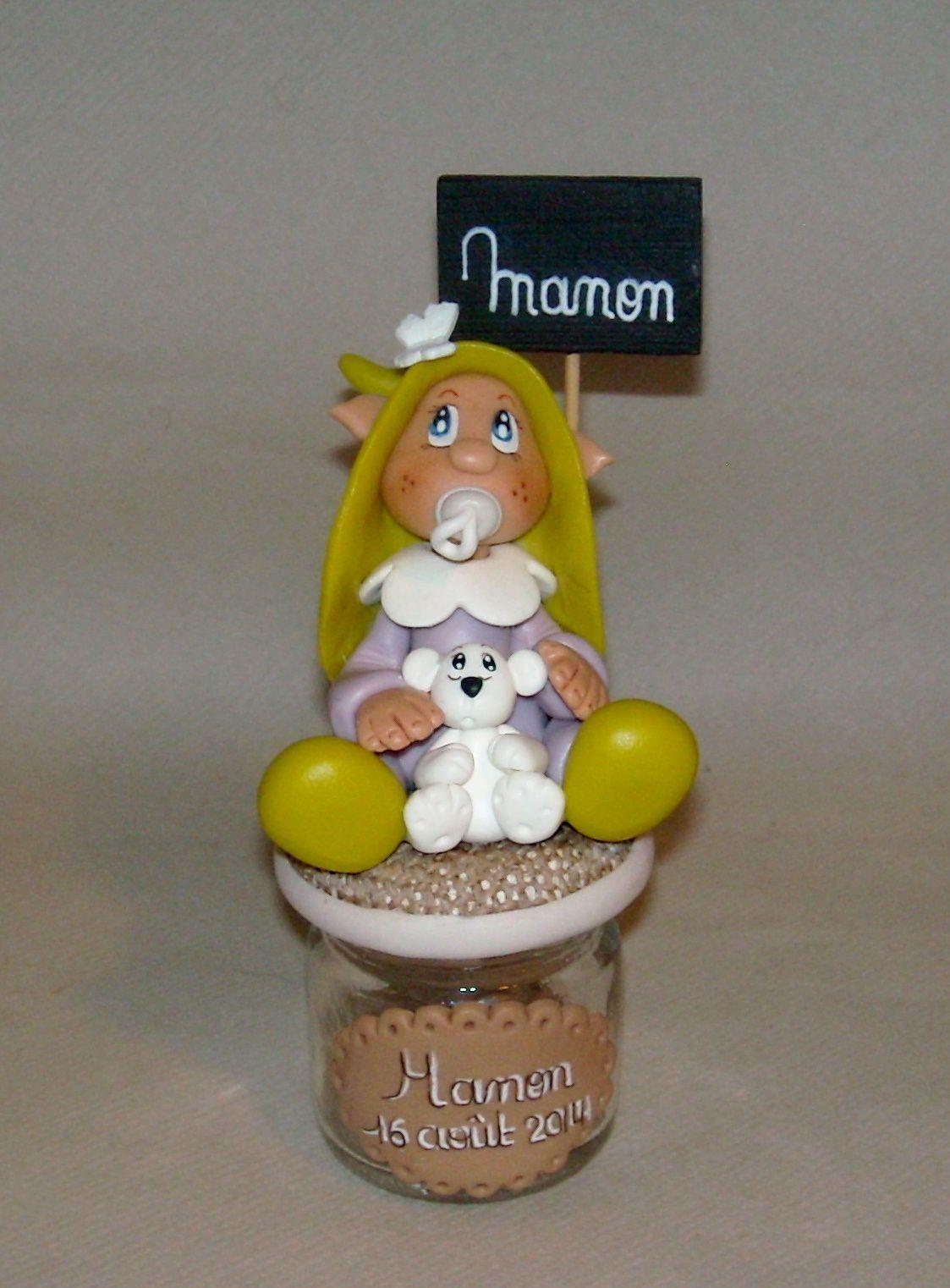 Pot à dragée avec bébé elfe et son doudou ourson