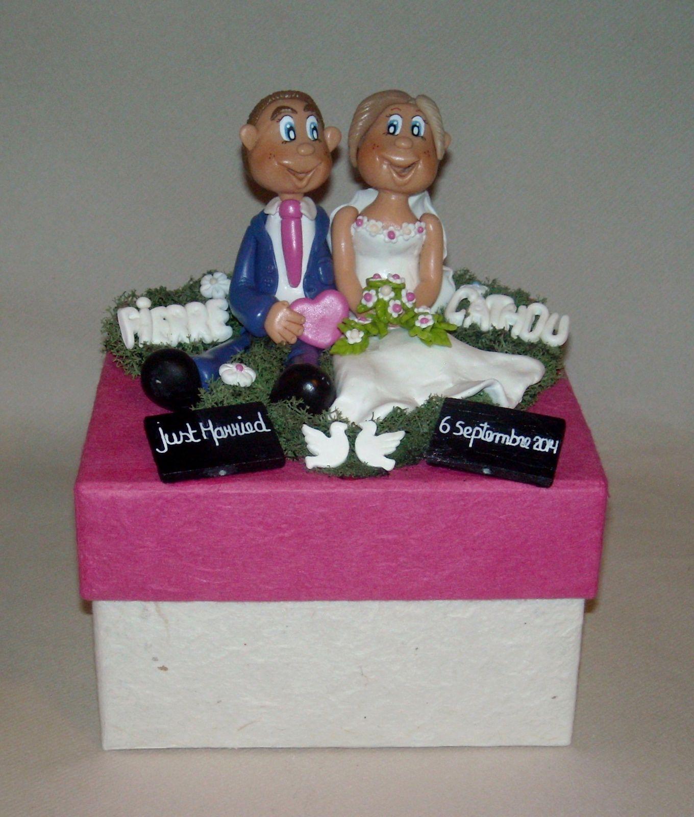 Boite avec p'tit couple de mariés