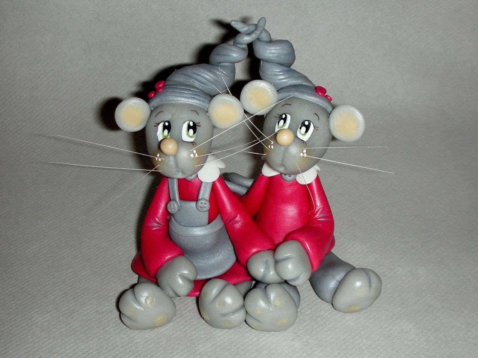 Kit de modelage &quot&#x3B;couple de souris&quot&#x3B; en porcelaine froide