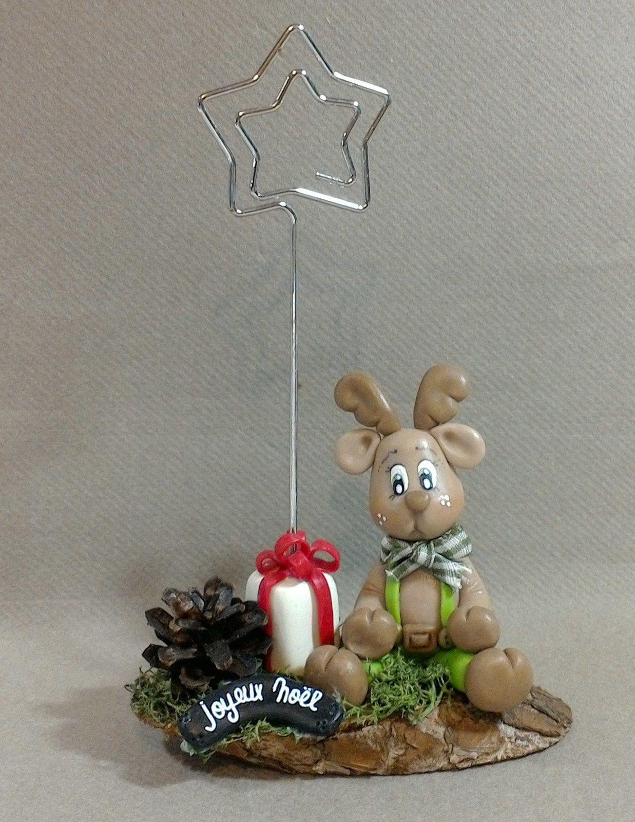 Porte-photo avec Bonhomme pain d'épice et renne de Noël