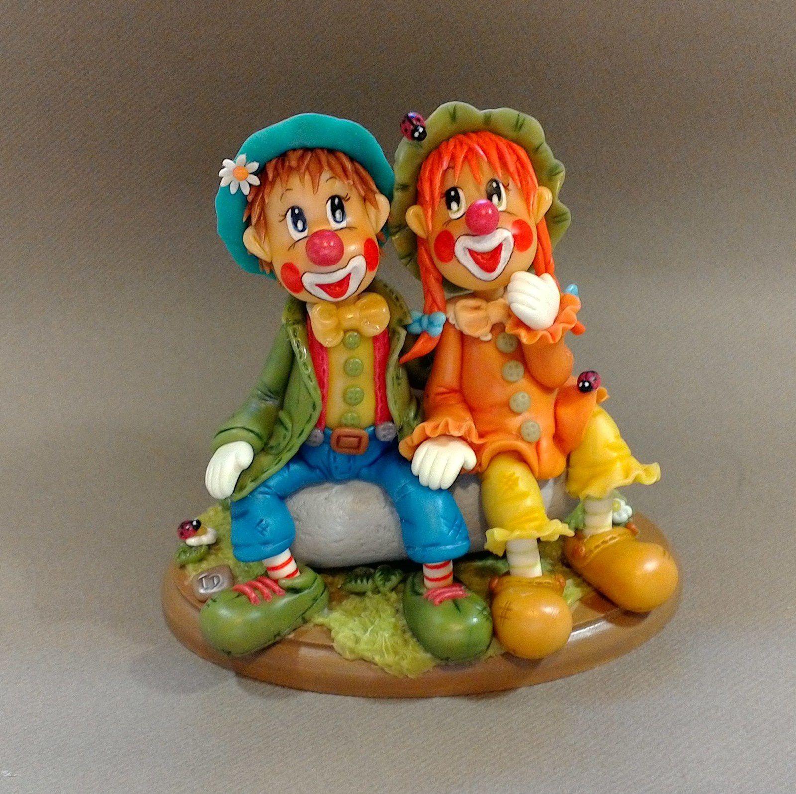 Couple de clown en procelaine froide